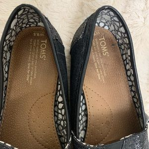Toms Shoes - Toms Metallic Black Flat Loafers. 9.5.